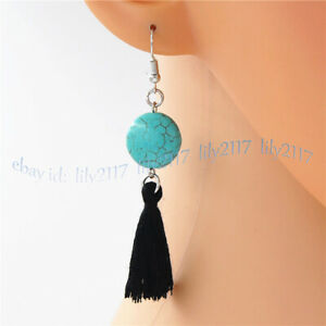 10mm Blue Turquoise Coin Gemstone Beads Tassel Rope Dangle Silver Hook Earring