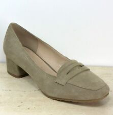 M&S FOOTGLOVE Real SUEDE Mid Heel COURT SHOES ~ Size 7 Wide ~ STONE