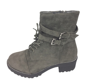 Womens Dark Grey Faux Suede Low Heel Winter Shoes Ankle Boots Size UK 4 5 6 New