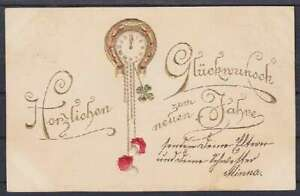 Embossed Ak New Year 1901, Watch With Horseshoe, Gel