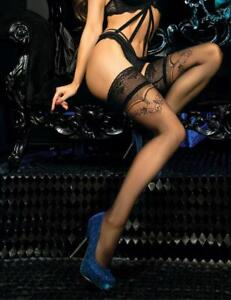 Ballerina Hold Ups 441 Womens Sexy Lace Top Hold Ups Glitter Detail
