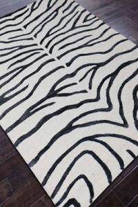 Verona The Wild Rugs Handmade Zebra Print Style Wool & Silk Area RUG & Carpet