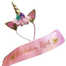 Unicorn Birthday Girl Set of Gold Glitter Unicorn Headband Pink Satin for Girls