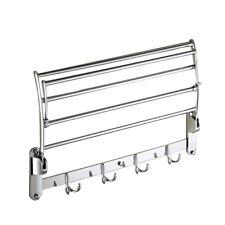 Stainless Steel Towel Holder Rack Shelf Bathroom Wall Mounted Foldable Hanger
