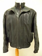 Leather Jacket Men's Large Biker Bomber 2 Tone Black Bod & Christensen Couture