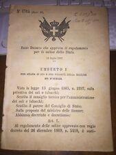 REGIO DECRETO CHE APPROVA IL REGOLAMENTO PER LE SALINE DELLO STATO 14 7 1887