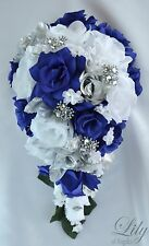 17 Piece Package Silk Flower Wedding Bridal Cascade Bouquet NAVY BLUE SILVER