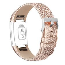 Watch Bands Genuine Leather Replacement Wristband Rose Gold For Fitbit Charge 2