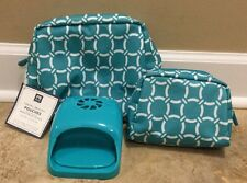 NEW 3PC Pottery Barn Teen Travel Beauty Pouches + Nail Dryer BALTIC
