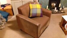 BROWN TAN FAUX LEATHER ARM CHAIR DISTRESSED LOOK