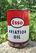 Vintage ESSO AVIATION OIL 1 Quart Metal Can Unopened Great Advertising