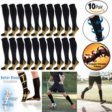 Copper Compression Socks 20-30mmHg Graduated Support Men's Women's S-XXL 10 Pair