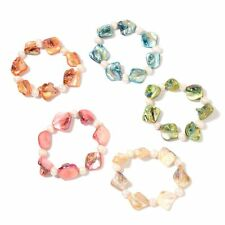 FRESHWATER PEARL GENUINE DYED SEA SHELL STRETCHABLE BRACELETS SET OF 5 MULTI