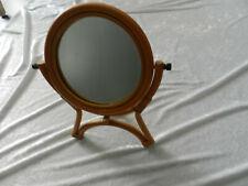 Ancien miroir rond psyché en rotin bambou osier à poser / vintage