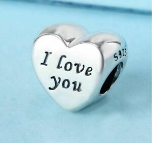 Authentic Pandora Words Of Love Engraved Heart Charm Bead 791422