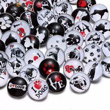 50pcs/lot I Love Dog Theme Pattern 18mm Snap Button For Snap Jewelry KZHM044