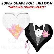 "Super Shape ""Wedding Couple Hearts"" Foil Balloon Helium Air Wedding Celebration"