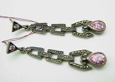 STERLING SILVER Sim Pink Topaz MARCASITE DANGLE EARRINGS Art Deco Style PEAR
