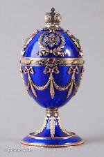 Antikes russisches Emaille Faberge Ei Henrik Wigström Silber, Gold, Diamanten