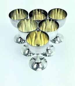 Antique Unbranded 6 Piece Sterling Silver Cordial Cups With Gold Washed Interior