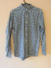 UNIQLO BLUE CASUAL CHECKED LONG SLEEVE BUTTON DOWN SHIRT SIZE SMALL S