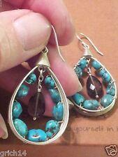 Silpada Sterling Silver Turquoise Smoky Quartz Earrings W2215 Retired!