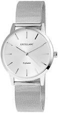 Excellanc 1517 Damen Armbanduhr silberfarbig Netzoptik Metallarmband Uhr Schmuck