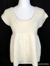 Hand Knit By Dollie Anthropologie M Romantic True Baby Doll Cable Knit Sweater