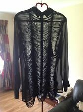 Asos Chiffon Black Blouse Has Rare Stunning Back Detail Size-10 New Without Tag