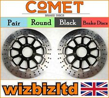 COMET Pair Black Front Brake Discs Suzuki GSXR 600 V/W/X/Y SRAD 97-00 R906BK2