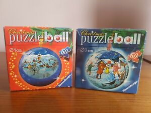 2 Ravensburger Puzzle ball Jigsaw Christmas NEW Sealed Hanging Ball Snowman Snow