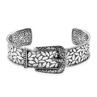 DESIGNER BALI BUCKLE BANGLE BRACELET in SOLID 925 Sterling Silver 34 Gms #P43
