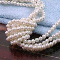 Damen Halskette Perlenkette lange Kette Perle Pullover Schmuck weiß Mode w/