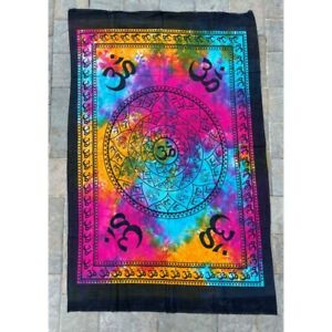 OM Multi 100% Cotton Poster Size Wall Hanging Tapestry 45 x 29 Decor Art
