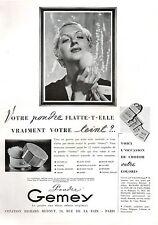 ▬► PUBLICITE ADVERTISING AD Poudre GEMEY produits de beauté 1936