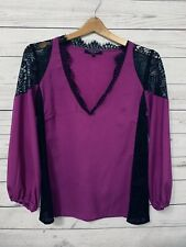 Nanette Lepore Purple Blouse Sheer And Black Lace Size 4 Long Sleeve K11
