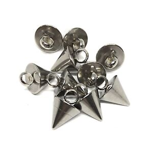 small hypoallergenic 304 stainless steel spike cone charms 9mm