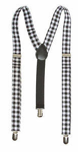 Plaid 3 Clip Stretchable Suspenders 2 pack