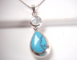 Reversible Blue Turquoise and Mother of Pearl 925 Sterling Silver Necklace