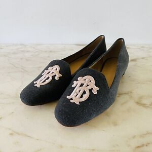 TORY BURCH Solid Gray Fabric Loafer Flats Large Logo - US 8.5