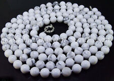 Real Natural 8mm White Turquoise Gemstone Round Beads Necklaces 18-100 inches