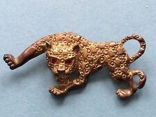 Vintage Panther Pin Gold Tone With Red Rhinestone Eyes, Animal Pin Animalia