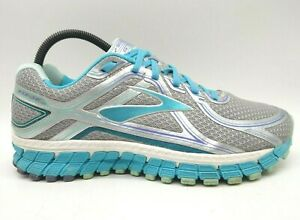 Brooks GTS 16 Teal Gray Mesh Lace Up Athletic Running Shoes Women's 10.5 EE