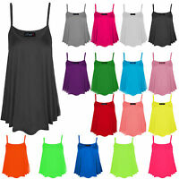 Womens Ladies Plain Printed CAMI SWING VEST Sleeveless Top lot Strappy Flared