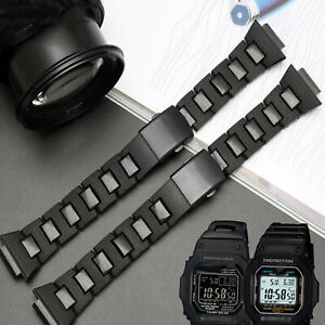 For DW5600 GW-M5610 Black Watch Strap Steel Plastic Watchband Belt