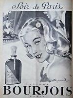 PUBLICITÉ DE PRESSE 1958 PARFUM BOURJOIS SOIR DE PARIS - ADVERTISING