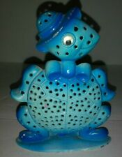Vintage Retro Blue Turtle Earring Jewelry Tree Stand Holder Revere Mfg. Metal