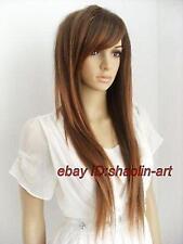 Haute qualité ! brun mix longue raide santé cosplay Costume cheveux perruques