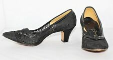 Vintage 50's RED CROSS Black Lace Look High Heel Shoes Size 6 1/2 C