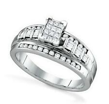 10K White Gold & Invisible-Set Diamond Engagement and Wedding Ring .45ct 1 Piece